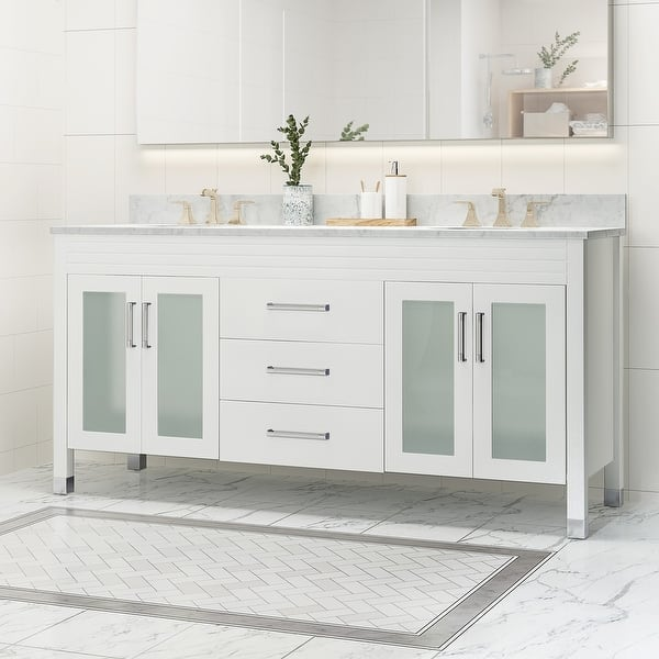 Holdame Double Sink Bathroom Vanity With Carrera Marble By Christopher Knight Home Overstock 25716188