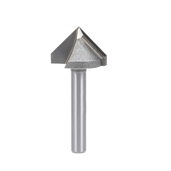 Router Bit 6mm Shank 22mm Dia 90 Degree V-Groove End Mill Tungsten Steel for CNC - Silver - 6x22mm 90 Degree