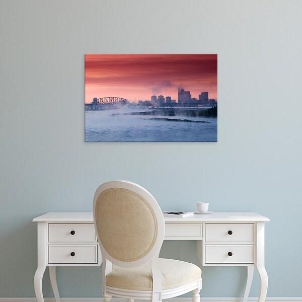 Easy Art Prints Walter Bibikow's 'Louisville: City Skyline along Ohio River and Morning Fog' Premium Canvas Art