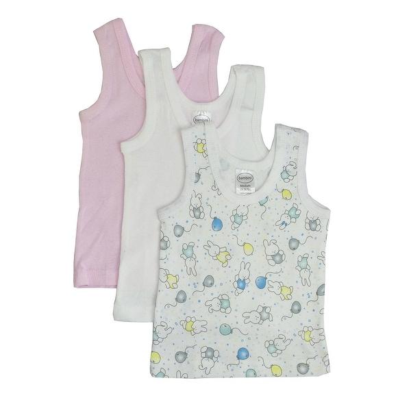 Baby Girl's Pink, White, Printed Rib Knit Pastel Sleeveless Tank Top Shirt 3-Pack