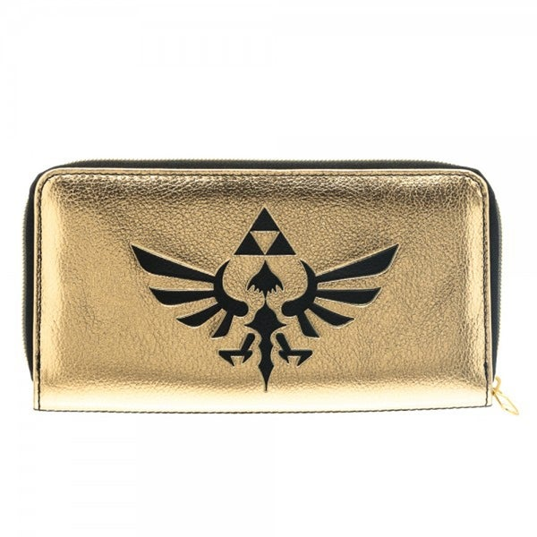 Legend of Zelda Legend Hyrule Crest Logo Black and Gold Zip Around Clutch Wallet