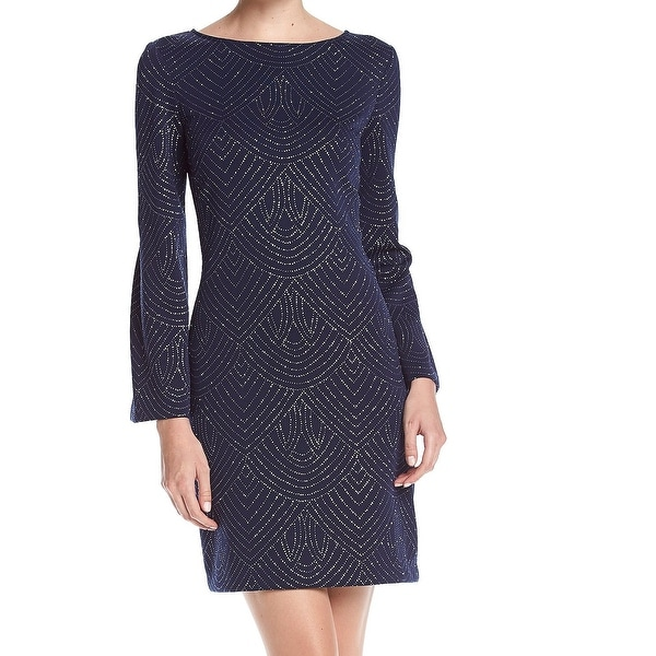 e5b8eae684 Shop Jessica Howard Blue Womens Size 6 Glitter Bell Sleeve Shift ...