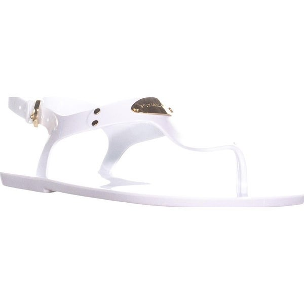 Michael Kors MK Plate Jelly Thong Sandals, Optic White/Gold