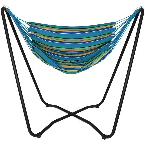 Sunnydaze Hanging Hammock Chair Swing with Space-Saving Stand - Ocean Breeze