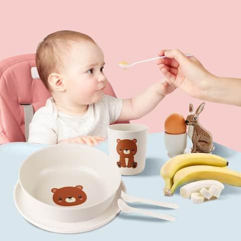 5pcs Bamboo Fiber Kids Dinnerware Set-Bear /dog Style
