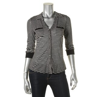 Almost Famous Womens Juniors Button-Down Top Knit Striped