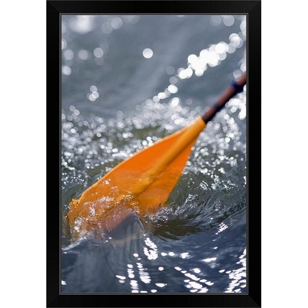 """Kayak paddle in turbulent water"" Black Framed Print"