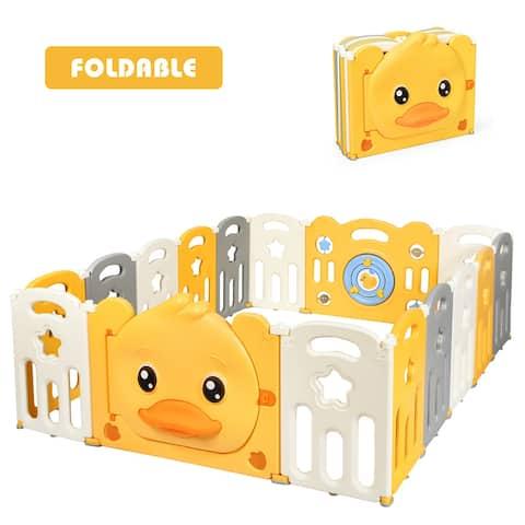 Costway 16-Panel Foldable Baby Playpen Kids Yellow Duck Yard Activity