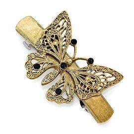 Goldtone Blue Crystal Butterfly Hair Barrette