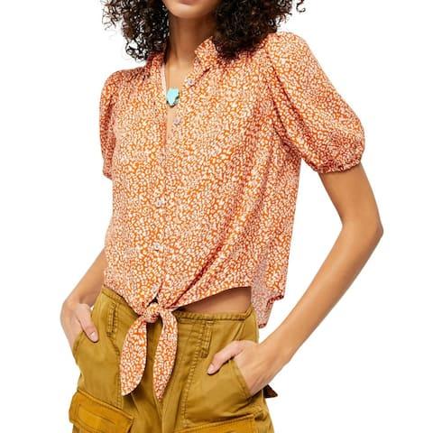 Free People Womens Blouse Orange Size XS Printed Button Down Tie Hem