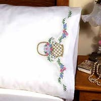 "Flower Basket - Stamped Pillowcase Pair For Embroidery 20""X30"""