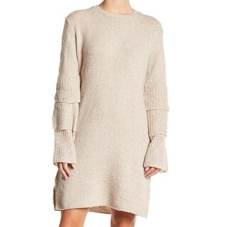 Solutions Beige Womens Size Large L Tiered Sleeve Sweater Dress