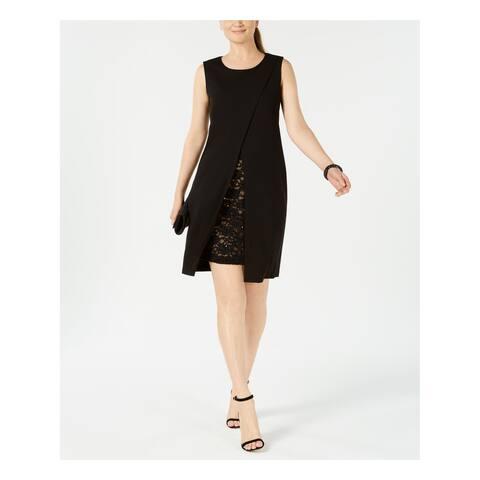 SEQUIN HEARTS Womens Black Lace Trim Envelope Sleeveless Jewel Neck Above The Knee Sheath Cocktail Dress Juniors Size: 11