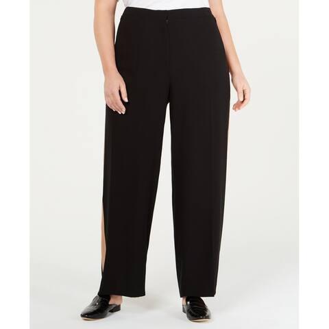 Eileen Fisher Womens Dress Pants Black Size 18W Plus Side-Stripe Silk