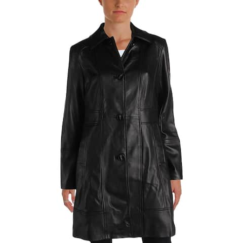 Gallery Womens Leather Coat Casual Long