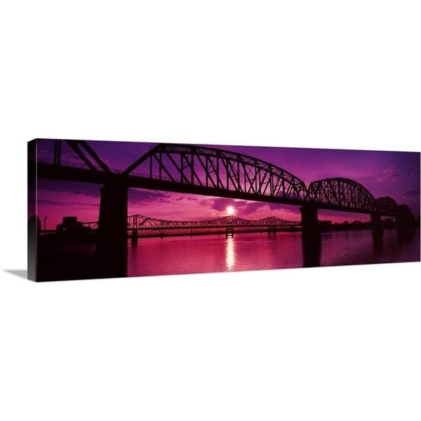 """""""Bridges over a river at dusk, Louisville, Kentucky"""" Canvas Wall Art"""