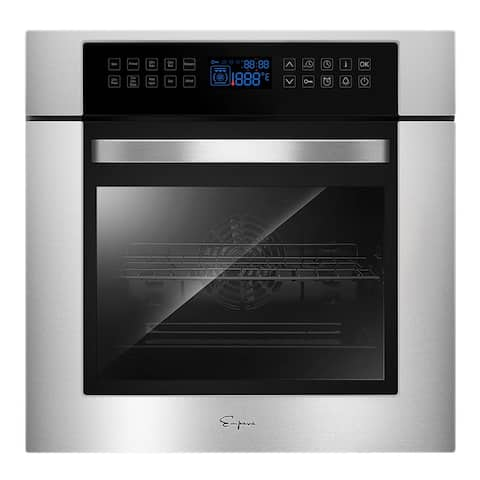 """Empava 24 in Electric Single Wall Oven - Convection Fan in Stainless Steel - 24"""""""