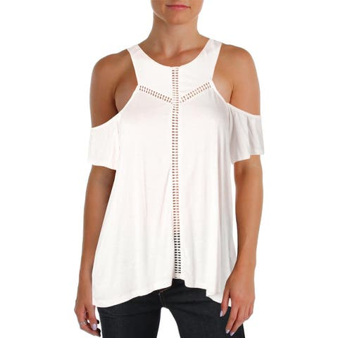 Jessica Simpson Womens Primrose Casual Top Embroidered Cold Shoulder