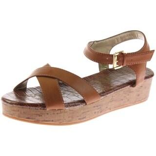 Sam Edelman Girls Faux Leather Wedge Sandals - 4
