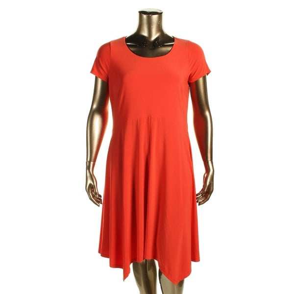 Lauren Ralph Lauren Womens Plus Casual Dress Matte Jersey Handkerchief Hem