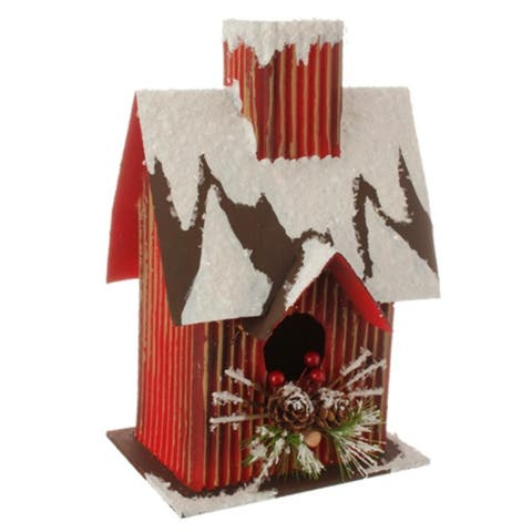 """9.5"""" Country Cabin Frosted Red and Brown Birdhouse Table Top Christmas Decoration"""