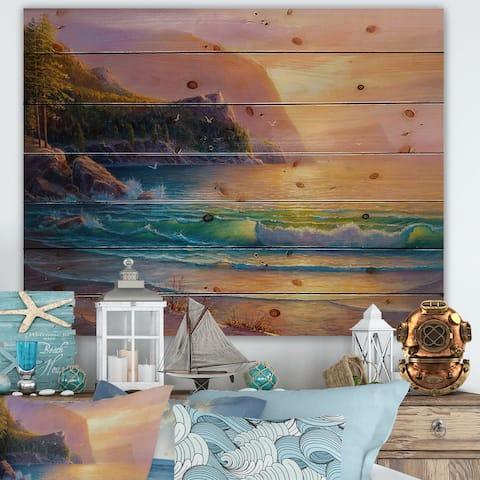 Designart 'Idyllic Bay With Summer Beach By The Trees II' Nautical & Coastal Print on Natural Pine Wood