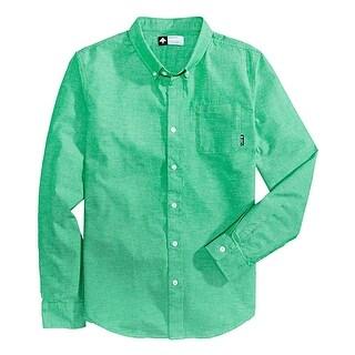 LRG Zuma Kelly Green Speckled Button Down Long Sleeve Shirt Large L