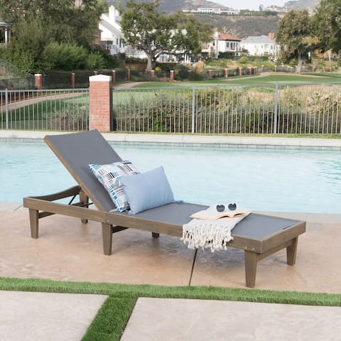 Summerland Outdoor Acacia/Mesh Chaise Lounge by Christopher Knight Home