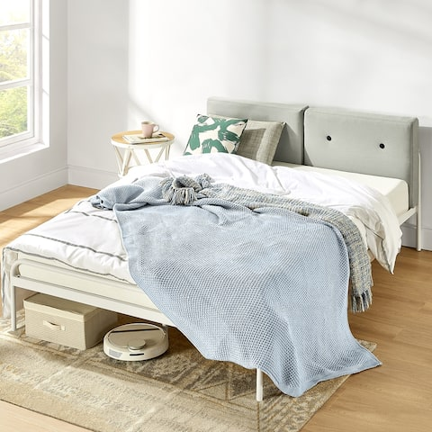 MAGGIE Metal Platform Bed with Upholstered Cushion Headboard, Steel Slats, Easy Assembly in Sky Grey