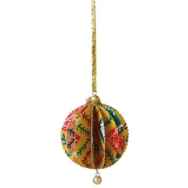 Bohemian Holiday Bright Funky Floral Zig Zag Vine Print Gold Glittered Sliced Ball Ornament 4""