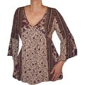 Funfash Plus Size Clothing Bohemian Brown Lace Bell Sleeves Top Shirt New Made in USA - Thumbnail 0