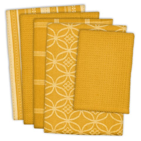 "Set of 5 Mustard Yellow and Ivory Multiple Patterned Dishcloth/Dishtowels 28"" - N/A"