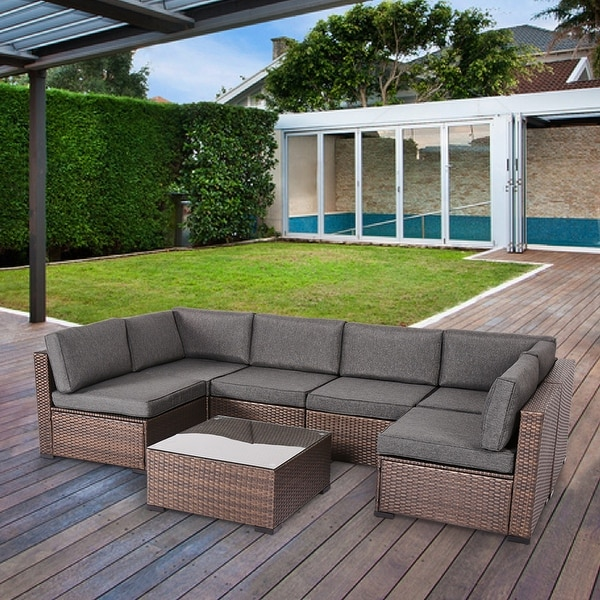 Rumber 7-piece Rattan Wicker Outdoor Sectional Sofa Conversation Set by Havenside Home. Opens flyout.