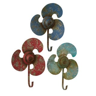 Set of 9 Blue and Red Distress Finished Decorative Propeller Wall Hooks 11""