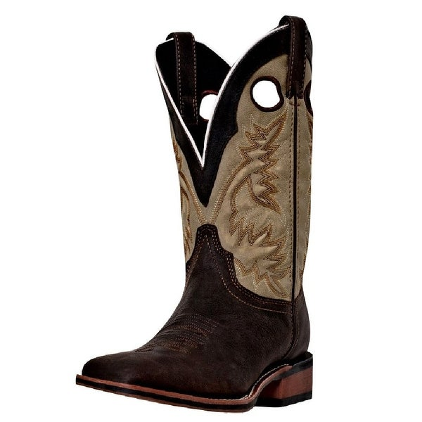 Laredo Western Boots Mens Stockman Collared Sq Toe Dark Brown Tan