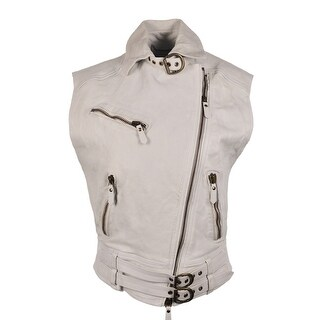 Roberto Cavalli Womens White Moto Leather Vest Jacket