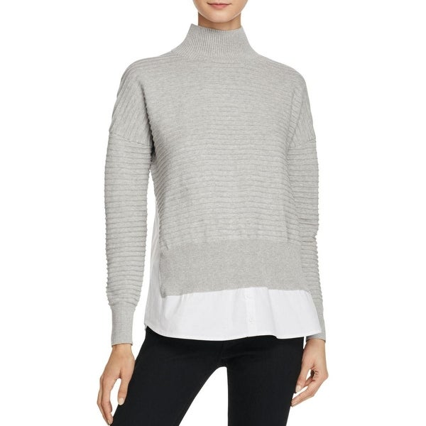 33789ea78c French Connection Womens Mozart Pullover Sweater Contrast Trim Ribbed Trim