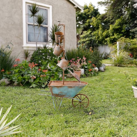 Alpine Corporation Rustic Metal Wheelbarrow and Tiered Watering Can Fountain
