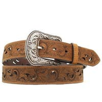 Ariat Western Belt Womens Scroll Paisley Print Cut Out Brown