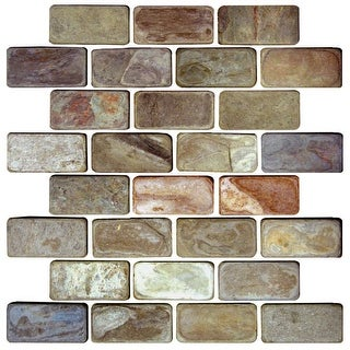 """Daltile S13BRICKMSP Slate Collection - 2-7/8"""" x 1-1/4"""" Brick Joint Mosaic Multi- - N/A"""