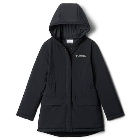 Columbia Girls' Outdoor Bound Jacket Black Large L Hooded Waterproof