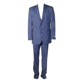 Micheal Kors Blue Stepweave Double Button Notched Lapel Unhemmed Pants Suit L - 42l