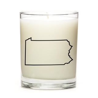 Custom Candles with the Map Outline Pensylvania, Fresh Linen