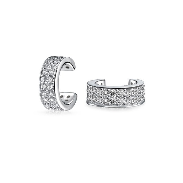 91ab0a787 Minimalist Cubic Zirconia Pave CZ Band Cartilage Ear Cuffs Clip Wrap Helix Earrings  For Women 925