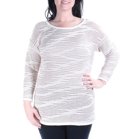 INC Womens Ivory Striped 3/4 Sleeve Jewel Neck Sweater Size: XL