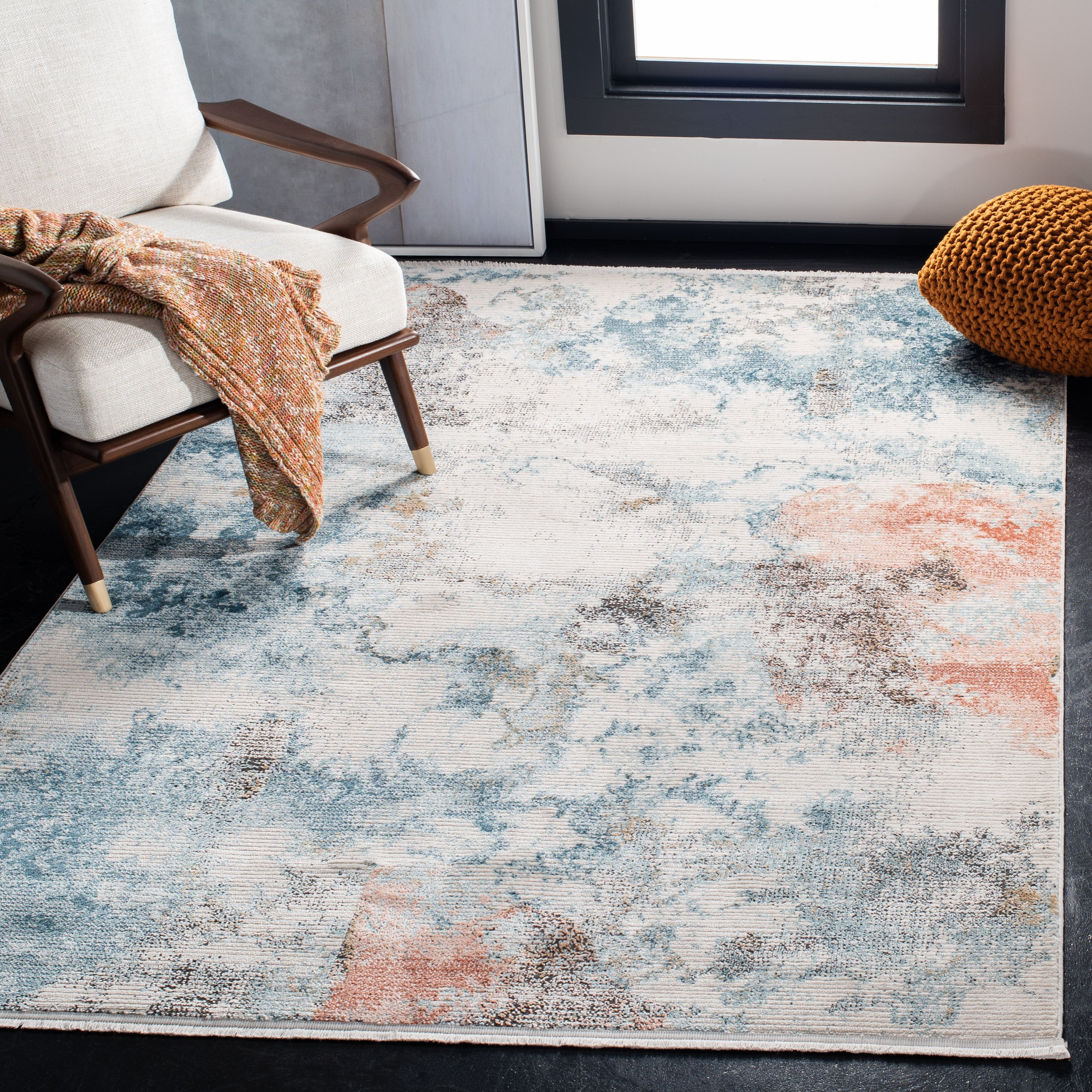 safavieh shivan modern contemporary abstract blue ivory rug