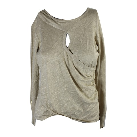 Thalia Sodi Gold Lurex Keyhole Long Sleeve Sweater S