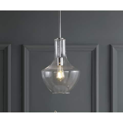 """Watts 10.5"""" Glass/Metal LED Pendant, Chrome/Clear by JONATHAN Y"""