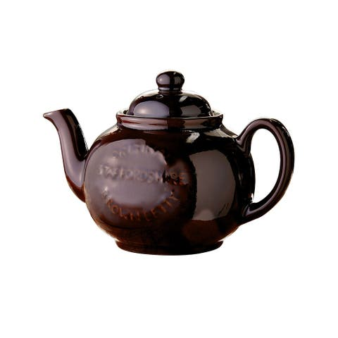 Cauldon Ceramics Brown Betty Teapot - Terra Cotta, Holds 6 Cups, Made in England - 6 Inch x 8 Inch