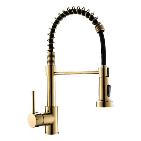 2-Function 1-Handle Pull Down Spray Swivel Kitchen Faucet